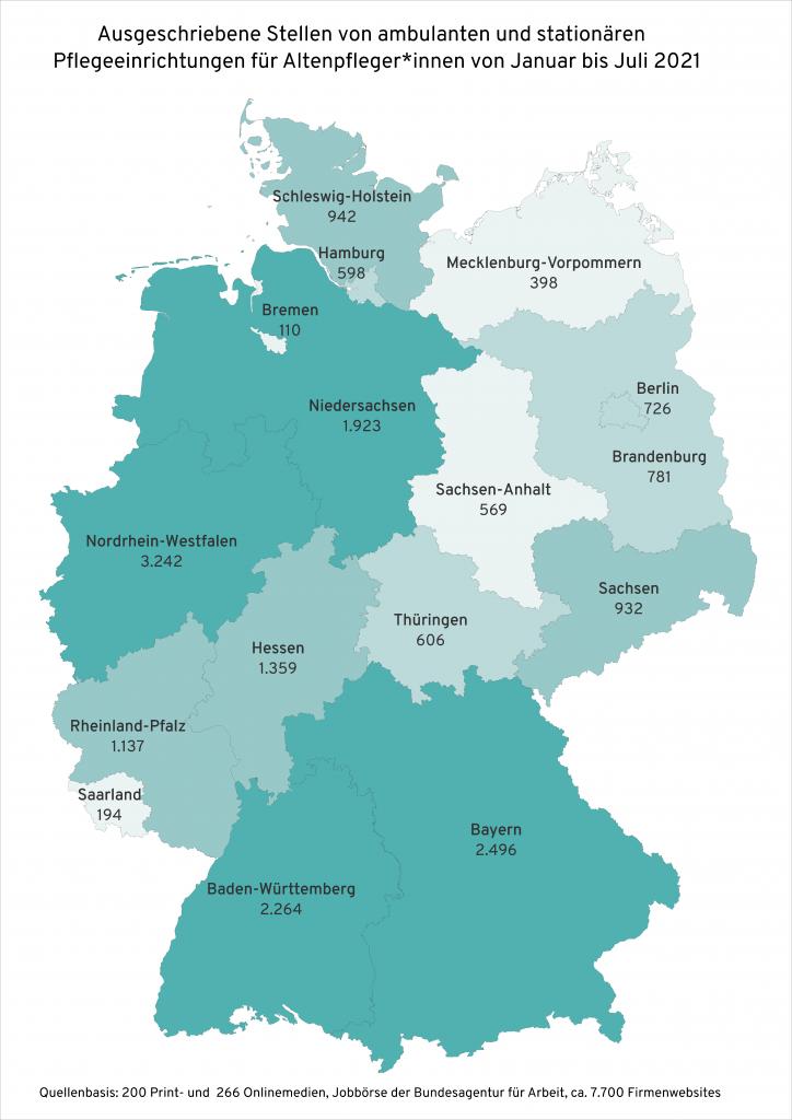 Ausgeschriebene Stellen für Altenpfleger*innen in den einzelnen Bundesländern